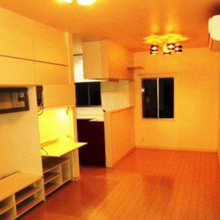 L型キッチンから見えるリビングとシステム収納が素敵な家
