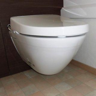 トイレ後ろに収納があり片付きやすいトイレ