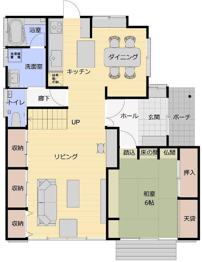リビング階段の家