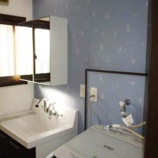 イケアのミラーキャビネットを設置した浴室・洗面リフォーム